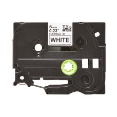 Banda laminata flexibila compatibila BROTHER TZE-FX211, Negru/Alb, 6mm x 8m