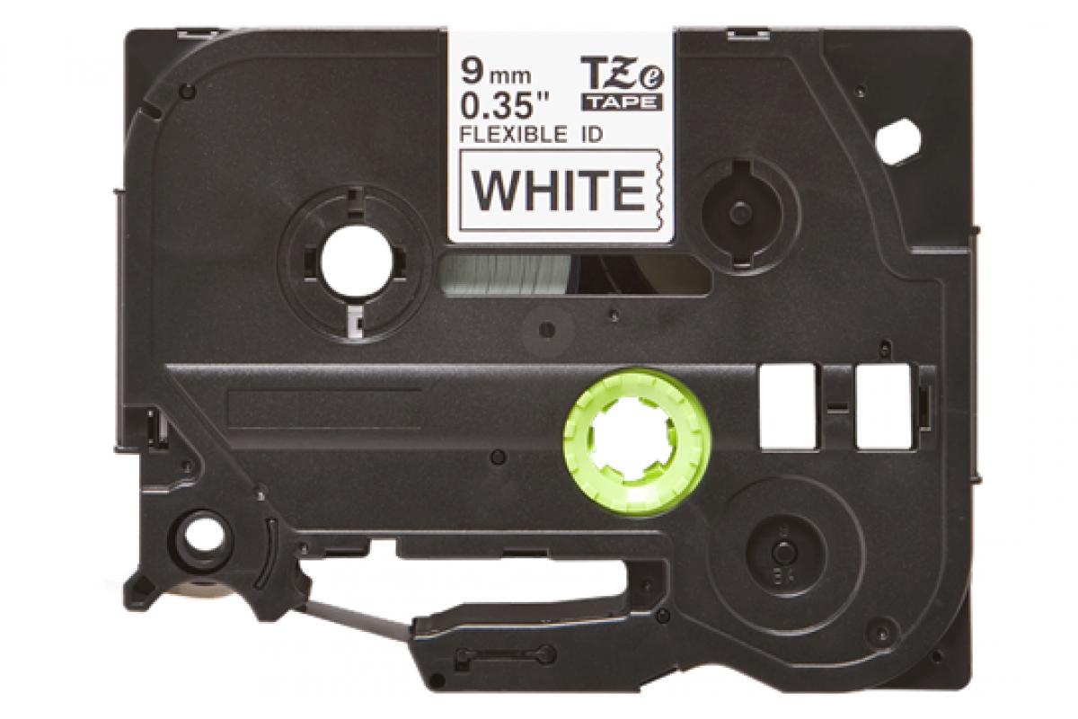 Banda laminata flexibila compatibila BROTHER TZE-FX221, Negru/Alb, 9mm x 8m