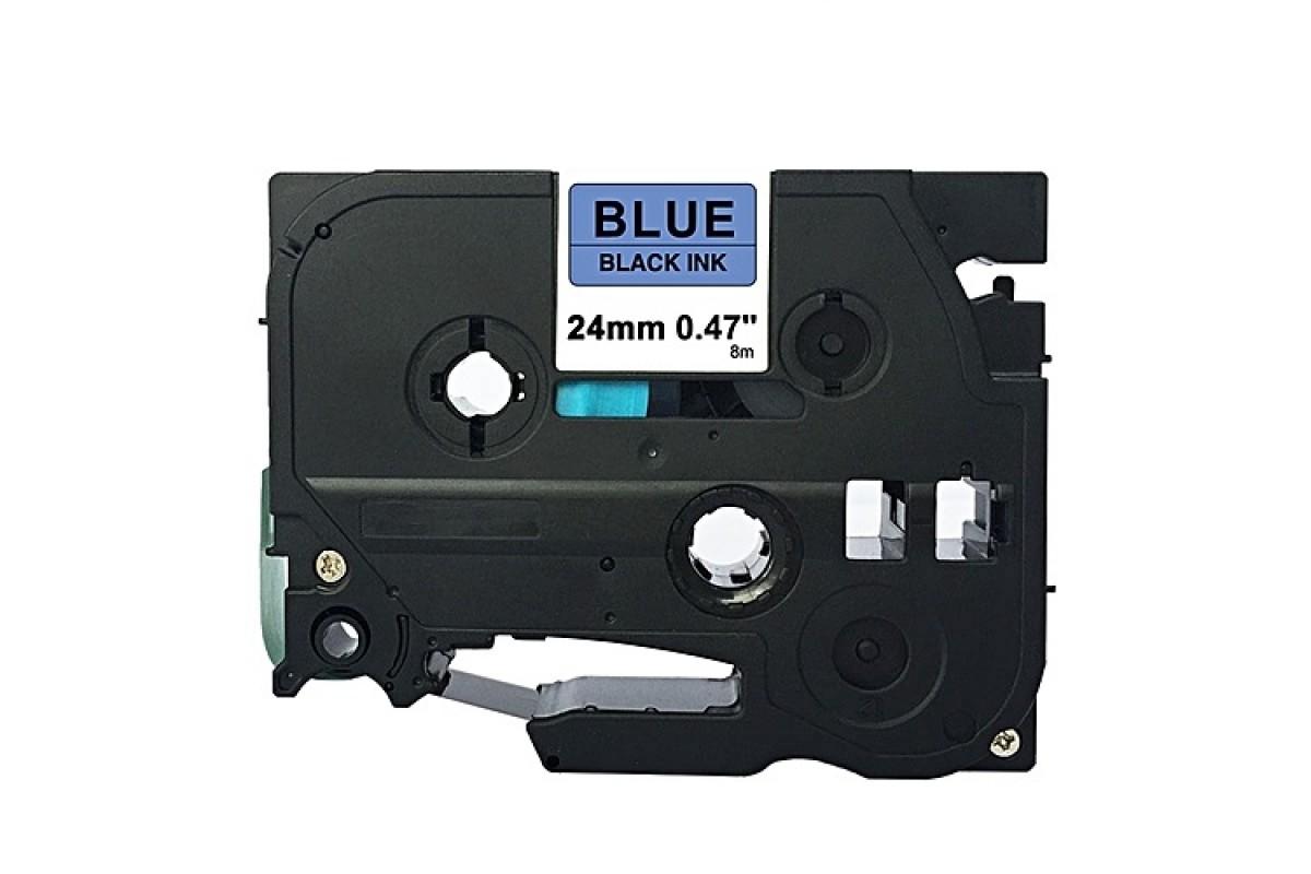Banda laminata compatibila BROTHER TZ-551/ TZe-551, Negru/Albastru, 24mm x 8m