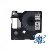 Banda compatibila DYMO D1 53713, 24mm x 7m, Negru/Alb