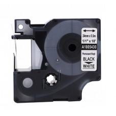 Banda vinil compatibila DYMO 1805430 ID1, 24mm x 5.5m, Negru/Alb