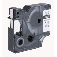 Tub termocontractibil compatibil Dymo 18051, 6mm x 1.5m, Negru/Alb