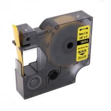 Tub termocontractibil compatibil Dymo 18054, 9mm x 1.5m, Negru/Galben